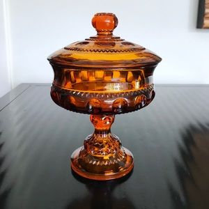 Other - Vintage Orange Amber Glass Pedestal Candy Dish